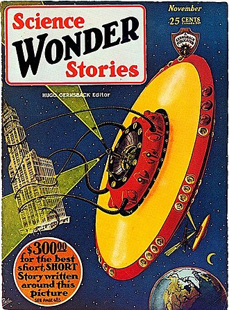 "Flying saucer - One of the first depictions of a ""flying saucer"", by illustrator Frank R. Paul on the October 1929 issue of Hugo Gernsback's pulp science fiction magazine Science Wonder Stories. Although the term wasn't used before 1947, fantasy artwork in pulp magazines prepared the American mind to be receptive to the idea of ""flying saucers""."