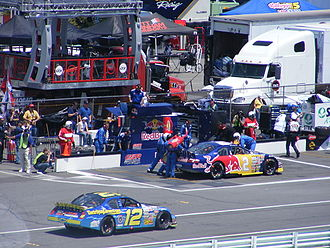 Scott Speed - Speed pits the No. 2 Red Bull Toyota at Pocono Raceway, during the 2008 Pocono 200.