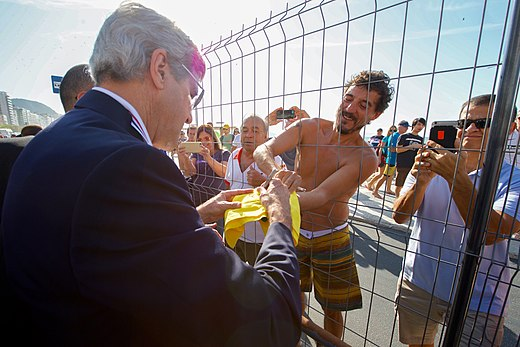 Secretary Kerry Signs A Brazilian Soccer Jersey for A Spectator (28772466376).jpg