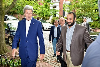 Mohammad bin Salman - Prince Mohammed with US Secretary of State John Kerry and Adel al-Jubeir, 13 June 2016