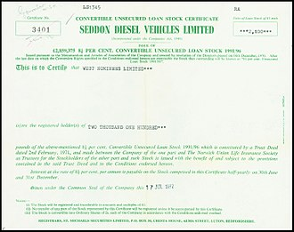 Seddon Atkinson - Loan stock certificate of the Seddon Diesel Vehicles Ltd, issued 17. July 1972