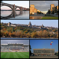 Top left: Preobrazhensky Bridge over Dnieper river, Top right: Lenin Avenue, Middle: Khortytsya island and Dnieper river, Bottom left: Slavutych Arena, Bottom right: Zaporizhia Region Administration building