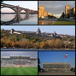 Top left: Preobrazhensky Bridge over the River Dnieper, Top right: Lenin Avenue, Middle: Khortytsya and River Dnieper, Bottom left: Slavutych Arena, Bottom right: Zaporizhia Oblast Administration Hall