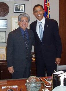 Senator Daniel Akaka and Senator Barack Obama