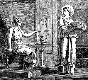 Saint Serapia - An engraving of Saint Serapia with her mistress, in Little Pictorial Lives of the Saints (1878)