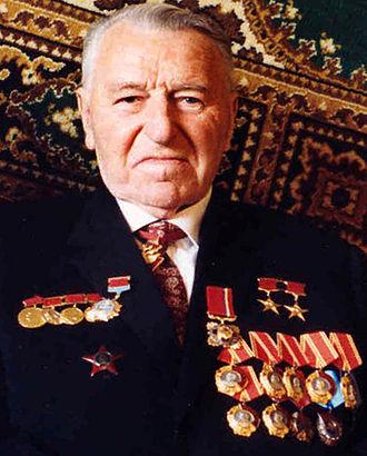 "Jubilee Medal ""Forty Years of Victory in the Great Patriotic War 1941–1945"" - Renowned engineer Sergey Afanasiev, a recipient of the Jubilee Medal ""Forty Years of Victory in the Great Patriotic War 1941–1945"""