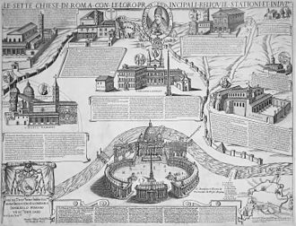 Seven Pilgrim Churches of Rome - Map of Giacomo Lauro and Antonio Tempesta dating to 1599 depicting the Seven Pilgrim Churches of Rome with San Pietro in Vaticano in the foreground, used for the Holy Year of 1600.