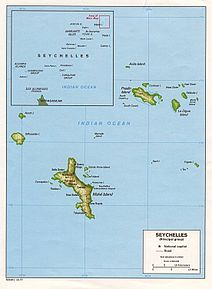 Location of Victoria on Mahé Island