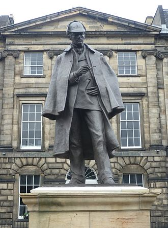 Arthur Conan Doyle - Sherlock Holmes statue in Edinburgh, erected opposite the birthplace of Doyle, which was demolished c. 1970