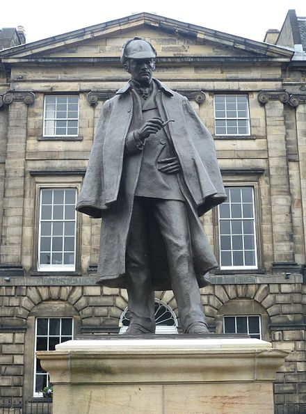 Sherlock Holmes statue in Edinburgh, erected opposite the birthplace of Doyle, which was demolished c. 1970 Sherlock Holmes Statue, Edinburgh.JPG