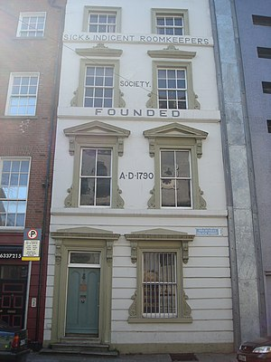 The Sick and Indigent Roomkeepers' Society - The Society's original building outside Dublin Castle.