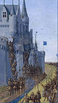 Armored soldiers deploy ladders in preparation for scaling a castle. Archers stand behind the soldiers and shoot with their bows and arrows.