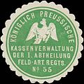 Siegelmarke K.Pr. Kassenverwaltung der I. Abtheilung Feld-Artillerie Regiments No. 55 W0370650.jpg