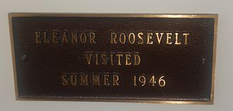Selbyville, Delaware - Sign inside Selbyville Public Library, commemorating former First Lady Eleanor Roosevelt's visit in 1946