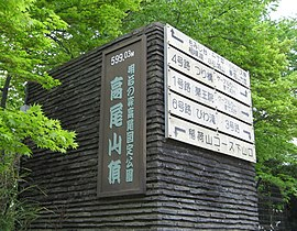 Sign of Summit of Mt. Takao taken in May 2009.jpg