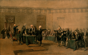 Signing of the United States Declaration of Independence - The Declaration of Independence of the United States of America, by Armand-Dumaresq (c. 1873) has been hanging in the White House since the late 1980s