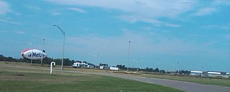 Sikorsky Memorial Airport - The Metlife blimp on the southern field in July 2011.