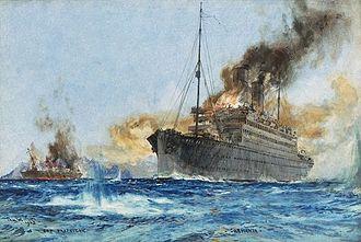 RMS Carmania (1905) - Image: Sinking Cap Trafalgar