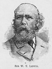 A black and white engraving of the bust of Sir William Lewis; he is shown looking to the left of the viewer. His hair has receded to the top of his head, but is slightly bushy at the sides; he has a full beard and wears a wide-lapelled jacket and tie.