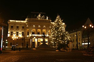 Slovak National Theater - The old Slovak National Theater building during Christmas time