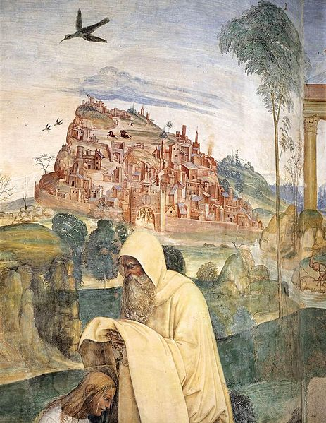 File:Sodoma - Life of St Benedict, Scene 4 - The Monk Romanus Dresses Benedict (detail) - WGA21567.jpg