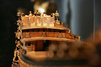Poop deck - Poop deck of a model of the Soleil-Royal, as seen from the forecastle