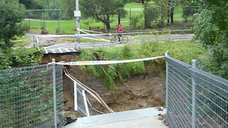 Gardiners Creek Trail - The Solway Street Bridge after it was swept away by flood waters