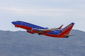 Southwest Airlines - A Southwest 737-700 departing Phoenix Sky Harbor International Airport.