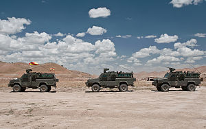 RG-31 Nyala - Spanish RG-31 Nyala prepare to depart Forward Operating Base Bernardo de Galvez for a patrol through the town of Sang Atesh, Afghanistan.
