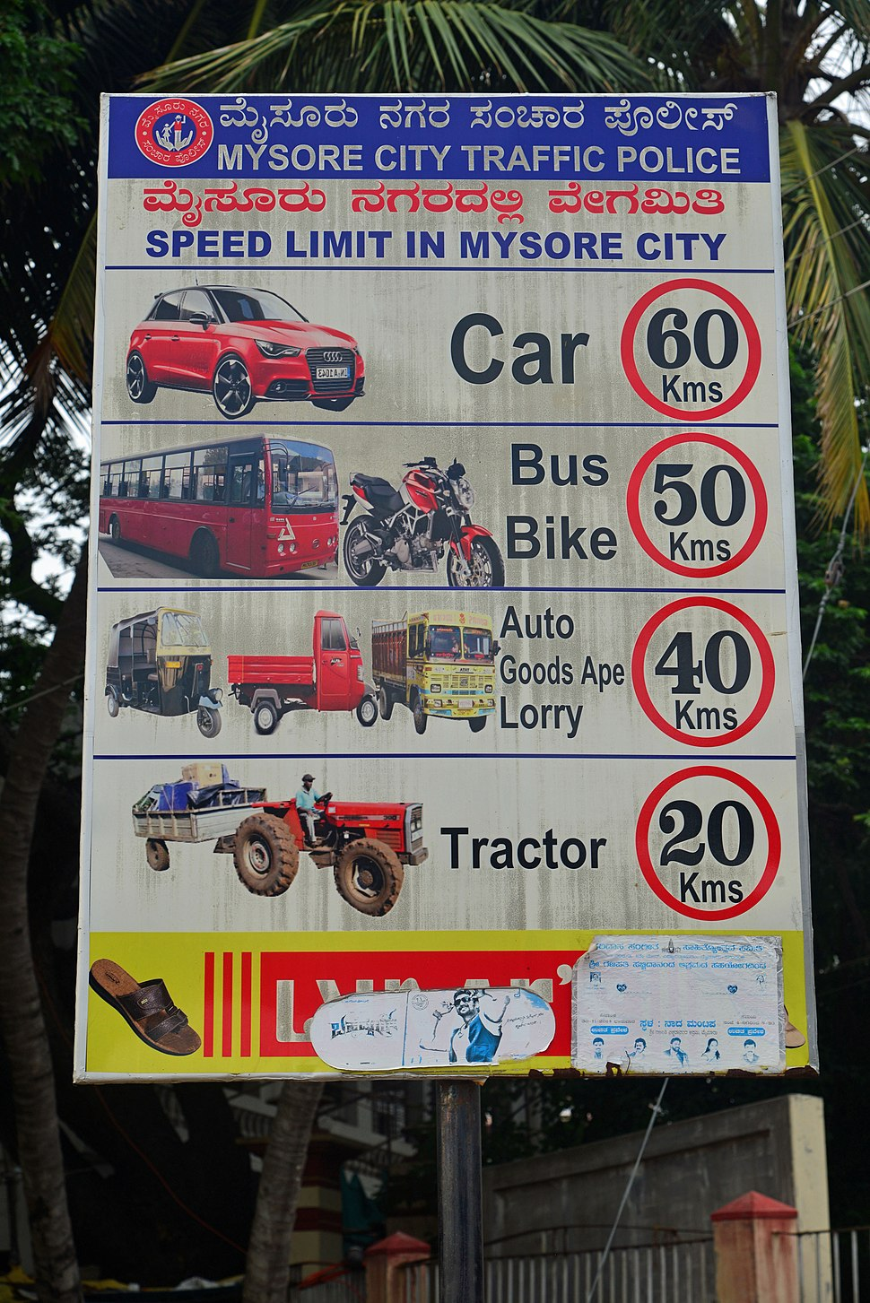 Speed limits notice Mysore