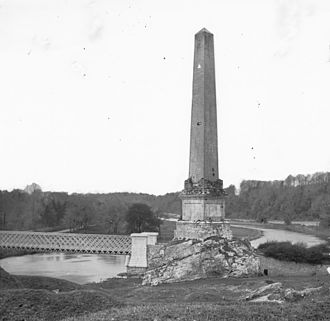 Battle of the Boyne - View of the commemorative obelisk (erected in 1736), prior to 1883. It was destroyed in 1923.