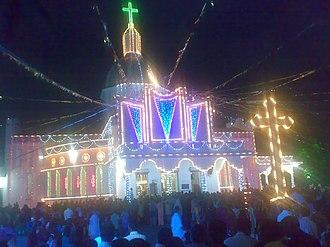 St. Mary's Forane Church, Edoor - Night View of 'St. Mary's Forane Church Edoor' on the feast day in 2012.