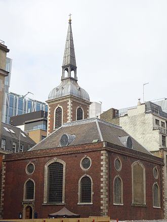 St Mary Abchurch - St Mary Abchurch (looking across empty site of 135 Cannon Street)