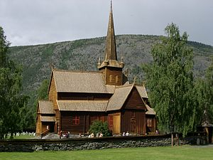 Lom, Norway - Lom stave church from a different viewpoint.
