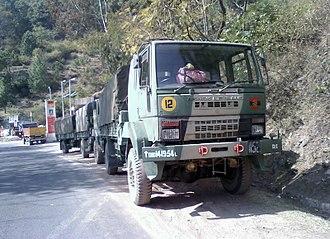 Ashok Leyland - An Ashok Leyland Stallion 4x4 Army Truck in Himalayas