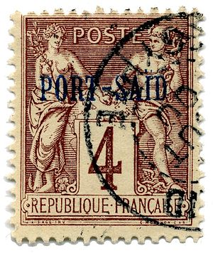French post offices in Egypt - 1899 Port Said overprint on 4-centime, used in 1900