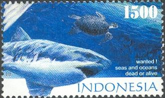 Environmental issues in Indonesia - 2014 postal stamp of Indonesia featuring overfishing.