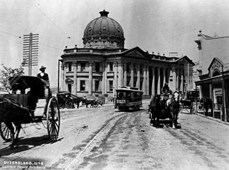 Trams in Brisbane - Saloon Car in Queen Street, 1898