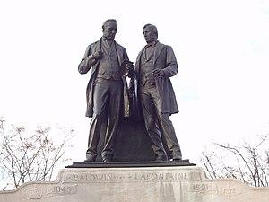 LaFontaine-Baldwin Symposium - Statue of symposium's namesakes Robert Baldwin and Louis-Hippolyte Lafontaine, on Parliament Hill in Ottawa.
