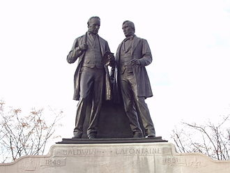 LaFontaine-Baldwin Symposium - Statue of symposium's namesakes Robert Baldwin and Louis-Hippolyte Lafontaine, on Parliament Hill in Ottawa.