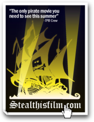 Steal This Film - Film poster mockup used the logo for The Pirate Bay