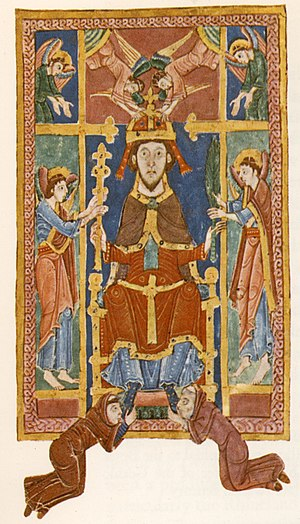Edmund the Martyr - Edmund being crowned by angels, from a 13th-century manuscript.