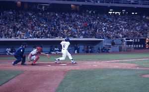Steve Garvey - Steve Garvey at bat in the mid-1970s against Cincinnati, in Dodger Stadium