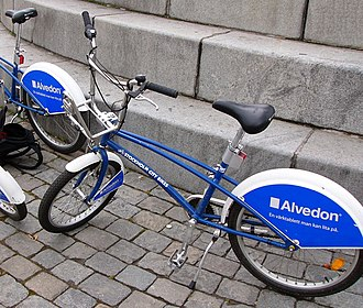 Stockholm City Bikes - A Stockholm City Bike with Alvedon advertising in August 2007