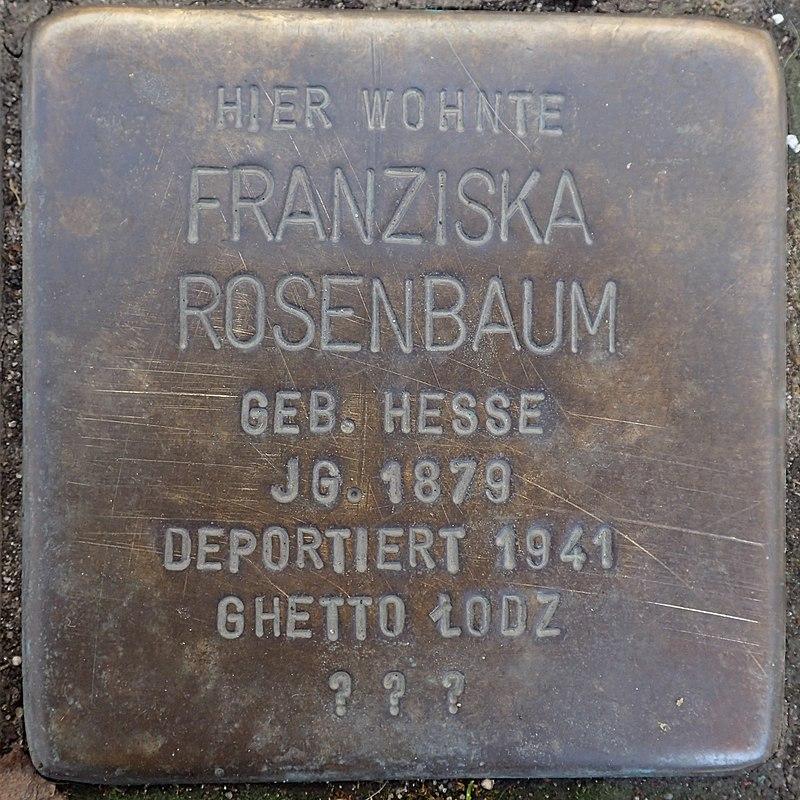 Stolperstein Duderstadt Marktstraße 37 Franziska Rosenbaum.jpg