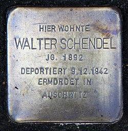 Photo of Walter Schendel brass plaque