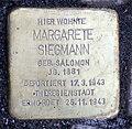 Stolperstein Sächsische Str 70 (Wilmd) Margarete Siegmann.jpg