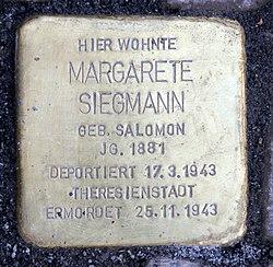 Photo of Margarete Siegmann brass plaque