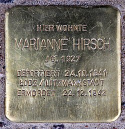 Photo of Marianne Hirsch brass plaque