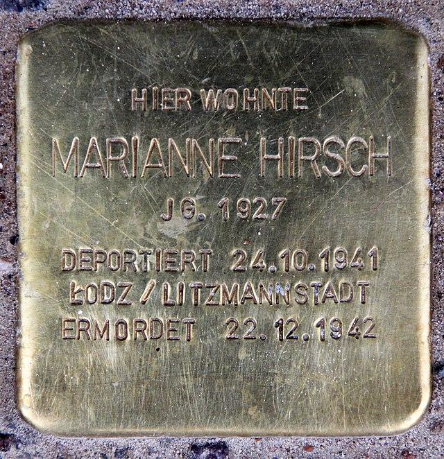Photo of Marianne Hirsch brass plaque